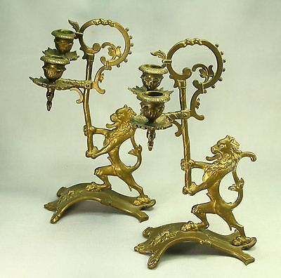 ! Antique 1800s Pair Double Candelabra Cast Brass Candle Holders Lion Rampant