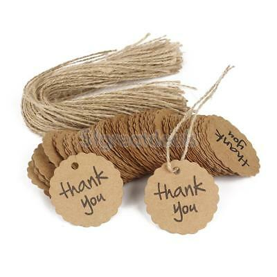 100pcs Thank You Kraft Paper Gift Tags Store Food Packing Sales Tags Labels