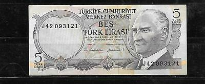 Turkey #185 Vf Circ 1975 Old 5 Lira Banknote Paper Money Currency Bill Note