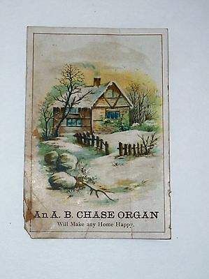 Antique Vintage Victorian Trade Card A B Chase Organ Piano Clem Crawford Indiana
