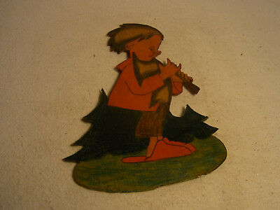 Vintage German Wood Fretwork Boy with Flute #T4