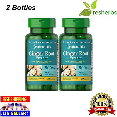 2X Ginger Root Standardized Extract 500 Mg Digestive Health Soothes Sour Stomach