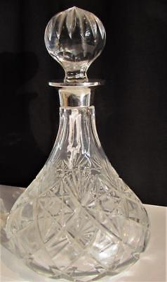 Cut Glass Sterling Silver Mounted Decanter - Hallmarked 1988