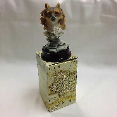 "Wolf Head Face Figurine 4"" Tall Statue Resin Decor Wolf's With Base Collectable"