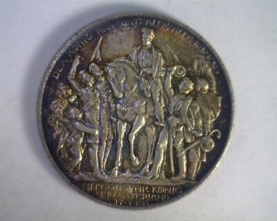 Prussia German States 1913 Mark 100th Anniversary Defeat of Napoleon Toned AU