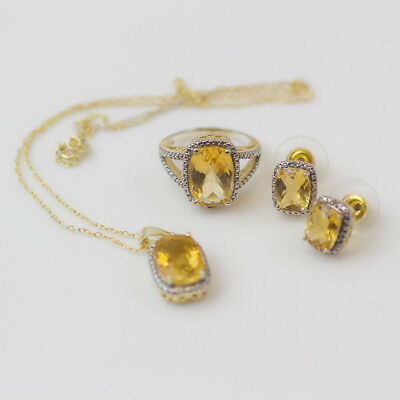 "Amazing Sterling Citrine Set Chain W/ Pendant 18"" Earrings & Ring Gold-Tone"
