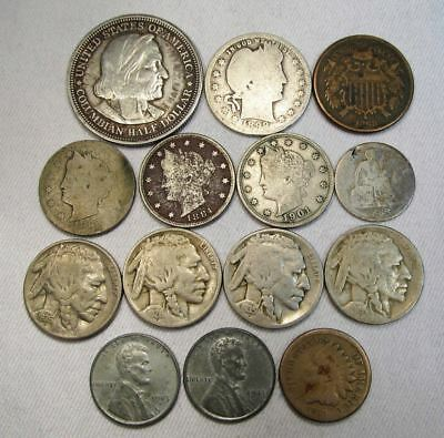 Vintage US Coin Lot 90 14pc Indian Steel Liberty Silver Seated Barber Columbian