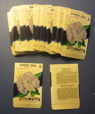 Wholesale Lot of 100 Old Vintage 1940's SWEET PEA - Blue - FLOWER SEED PACKETS