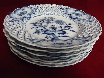 "Six Vintage Meissen Blue Onion 8"" Reticulated Plates - Crossed Swords"