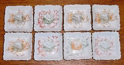 8 Antique Two Tone Transfer Porcelain Butter Pats - Landscape Scenes -Some Nicks