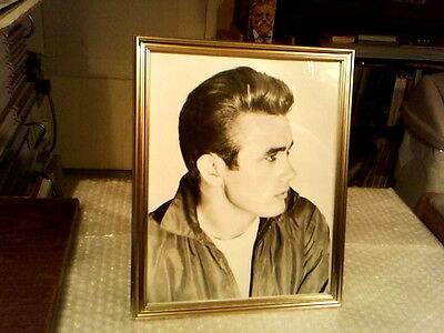 """James Dean Close Up 8"""" X 10"""" Gold Framed Black And White Publicity Photo"""
