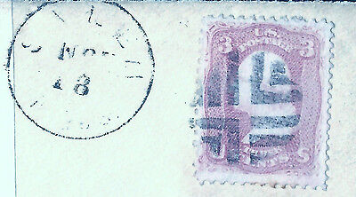 US Civil War Era Stamp on Piece w/Fancy Cancel & Validating  Salem, Mass. CDS