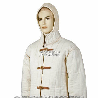 Ecru XXL Size Gambeson Type IV Medieval Padded Armour Coat SCA WMA Arming Jacket