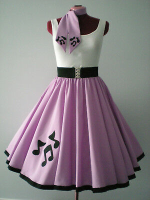 "GIRLS/CHILDS ROCK N ROLL/ROCKABILLY ""Music Notes"" SKIRT-SCARF 10-12 Pastel Mauve"