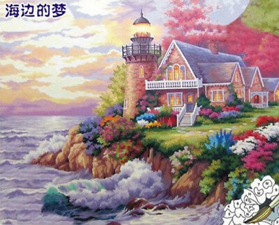Framel B4Q6 Girl DIY Oil Painting Paint By Number Kit-Facing the Sea 16x20 Inch