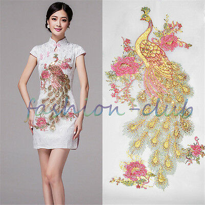 1PC Embroidery Flower Sequin Animal Peacock Patches Cloth Sew Iron On Appliques