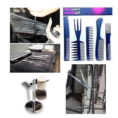 High Quality Hair Styling Comb Set Professional Black Brush Barbers piece