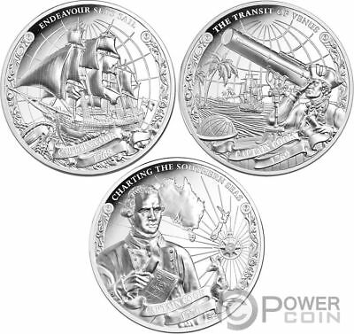 CAPTAIN COOK 250th Anniversary Set 3x1 Oz Silver Coins 5$ Cook Islands 2018
