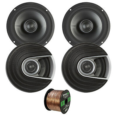"4x Polk Audio MM Series Marine 6.5"" 2 Way Coaxial Speakers, 16-G 50 Foot Wire"