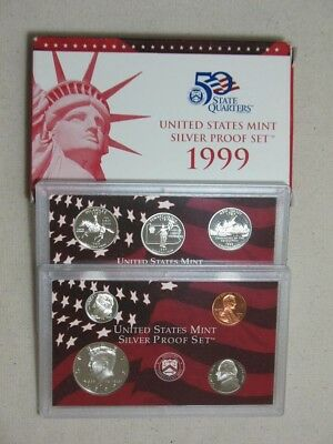 1999 Silver Proof Coin Set - Half Dime Nickel Cent & Quarters