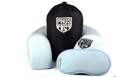 PHUS Travel Neck Pillow, Premium Memory Foam, 3 Piece Set, Cover with MP3 Pocket
