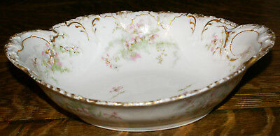 "Theodore Haviland Limoges France * Double Gold Dogwood 10"" Oval Serving Bowl"