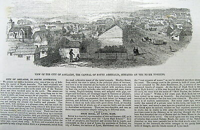1851 illustrated newspaper with early view & description of ADELAIDE Australia
