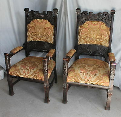 Antique Match Pair of Large Oak Highly carved arm Chairs - Upholstered Seats