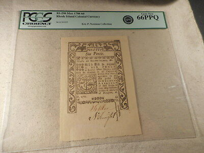 1786 Rhode Island Colonial Currency Ex Newman Six Pence PCGS 66 PPQ High Grade