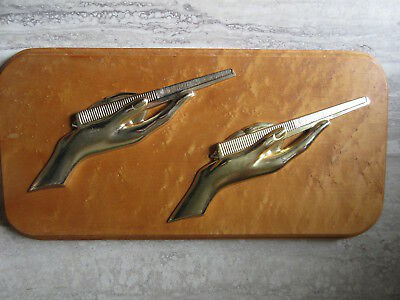 Vtg Cast Metal Hands with Combs Barber Shop Plaque Birdseye Maple