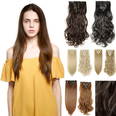 Full Head 8 piece Clip in on Hair Extensions Real thick curly wavy for human WF9