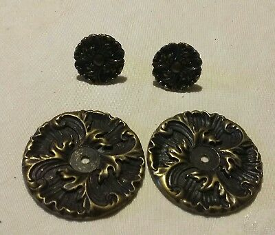 Vtg Ornate Brass ROSETTE KNOB BACKPLATE SET Dresser Drawer Cabinet Door set 2