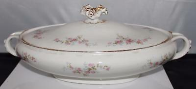 Antique Knowles Taylor Covered Serving Dish Pink Rose Shabby Chic French Country