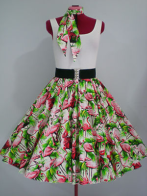 "ROCK N ROLL/ROCKABILLY ""Flamingos"" SKIRT & SCARF S-M White/Pink/Green."