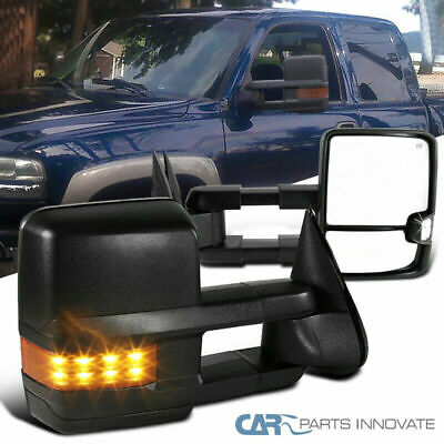 99-02 Silverado Sierra Power Heated Towing Mirrors+Amber LED Turn Signal Lights
