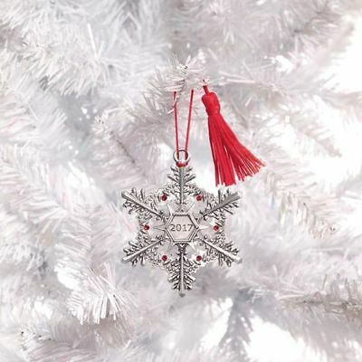 Pewter Christmas Collectible Vintage Avon Ornament -Dated 2017 -Pewter Snowflake
