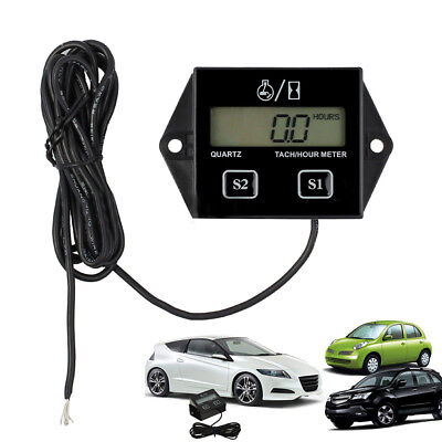 LCD Race Digital RPM Tach Hour Meter Tachometer Gauge Spark Plug For Motorcycle
