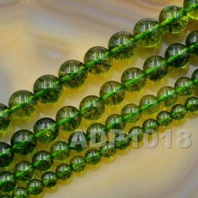 6mm 8mm 10mm 12mm Smooth Round Green Peridot Gemstone Loose Beads 15.5""