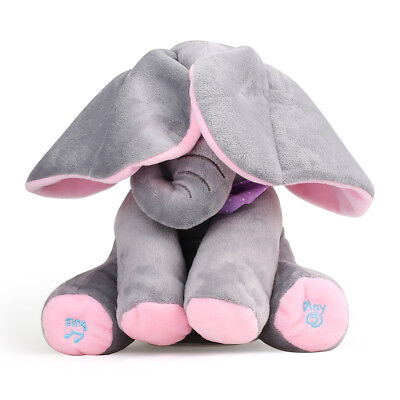 Peek-a-boo Elephant Baby Plush Toy Play & Sing Stuffed Animated Animal Kids Doll