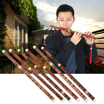 Durable Bamboo Flute Chinese Dizi Instrument 2 Sections F/G Key with Accessories