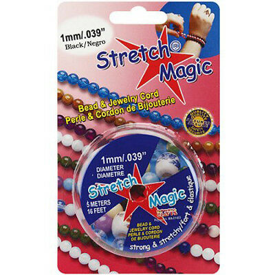 Stretch Magic 1 mm Black Elastic Beading & Jewelry Cord - 5 Meters