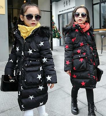 Kids Girls Long Down Quilted Winter Jacket Detach Hood Zip Parka Coat 4-12 Years