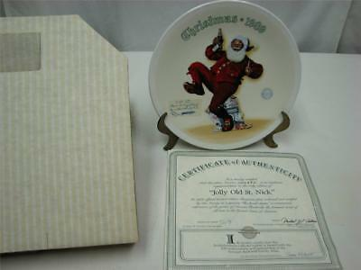 Norman Rockwell  Plate JOLLY OLD ST NICK, Pepsi gallery,with Certificate and box