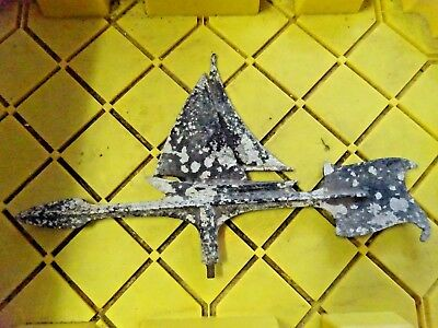 "Vintage Sailboat Wind Vane Off A 1930's House In St Petersburg Fl. 18""l X 1O.5""h"