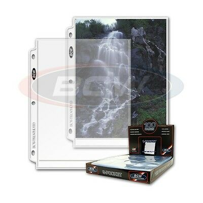 100 - 1 Pocket 8x10 Photo Page Sheet Protector BCW ProPhoto - fits 3 ring binder