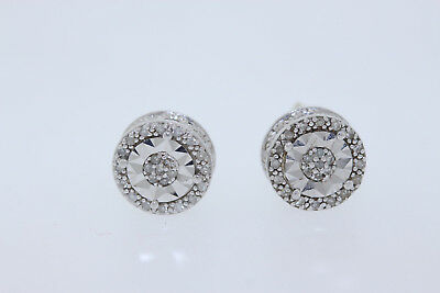 NEW Sterling Silver .10ct Round Diamond Scroll Halo Stud Earrings (H, I2) 7.4mm