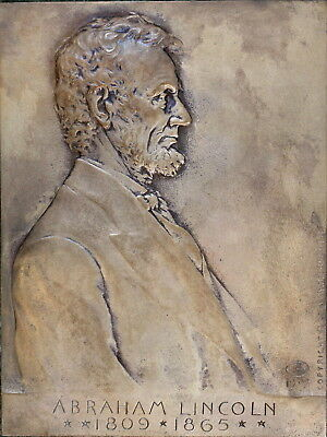 1907 Abraham Lincoln Bronze Plaque by Victor D. Brenner