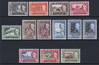 Malaya Selangor 1957 set of 12 + 50c Perf - very fresh lightly mounted mint £57