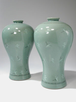 """Pair of Beautiful 13"""" Korean Meiping Vases Celadon Crane Pattern Signed by Maker"""