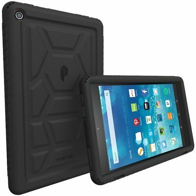 Poetic For Amazon Fire HD 8 Rugged Case [Turtle Skin] Shockproof Cover Black